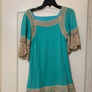 Blue and crochet dress